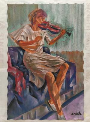 Mujer y violín